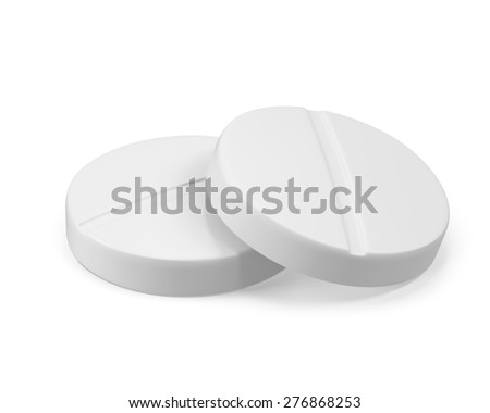 Two pills isolated on white background. 3d illustration High resolution
