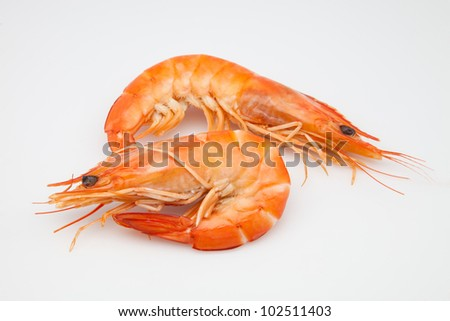 two prawns cooked ready to eat