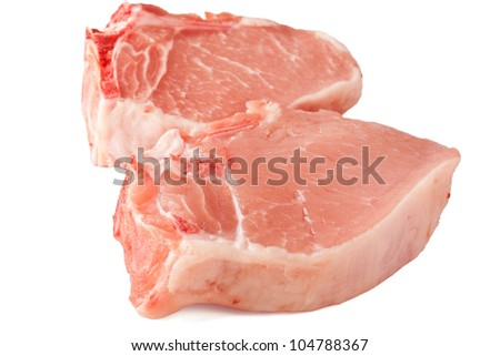 Two Raw Pork Chops Isolated on White Background
