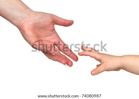 two reaching hands