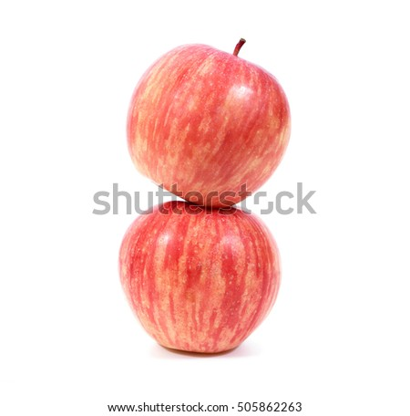 Two red apple stack isolated on white background