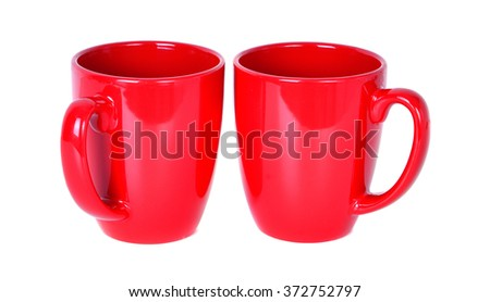 Two red cups isolated on white background