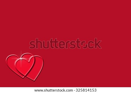 two red hearts connected showing love and to be used as background