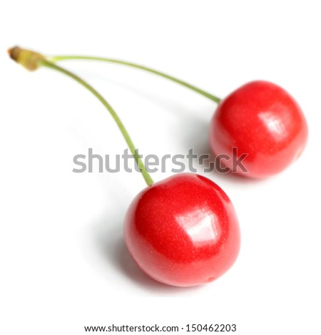 Two Red Sweet Cherries Isolated on White Background