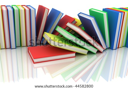 two row books in different colour (done in 3d)