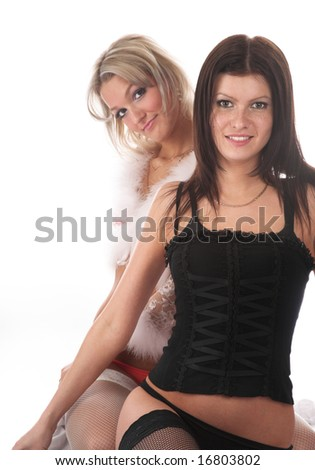 Two sexy girls on white isolated background