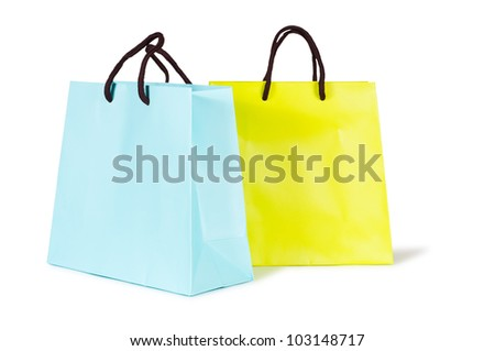 two shopping bags isolated on white background