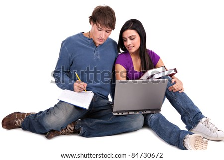 Two Smiling Casual Dressed College Student Working  on Isolated White Background