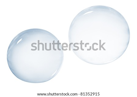 Two soap bubbles isolated on white background