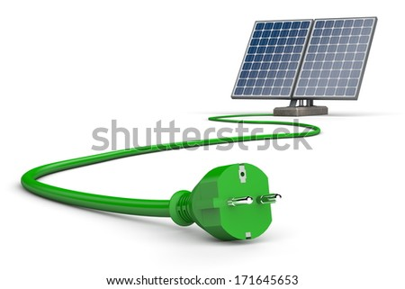 two solar panels connected to a curving green cable on a white background