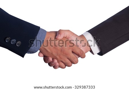 Two successful business men are handshaking, on white background.
