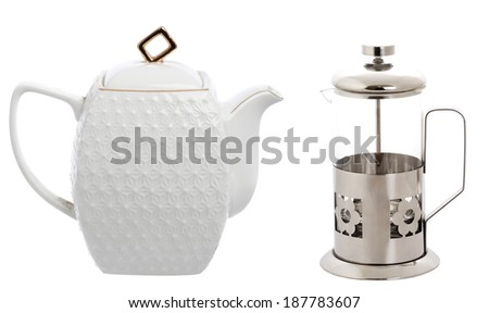 Two teapot, isolated on white background