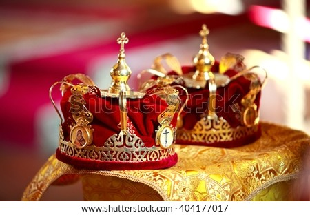 two wedding crowns in the church