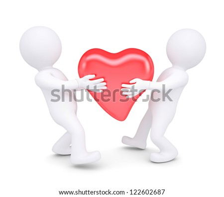 Two white man holding a glowing red heart. Isolated render on a white background