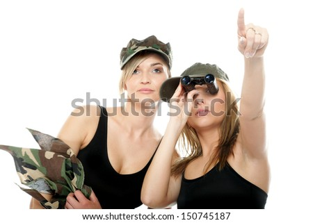 Two women in military clothes with binoculars army girls isolated on ...