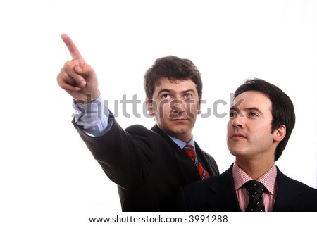 Two young business men portrait on white.