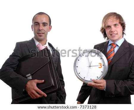 two young businessman, ione holding clock and other holding one folder
