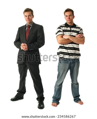 Two young businessmen wearing formal and casual clothes isolated on white