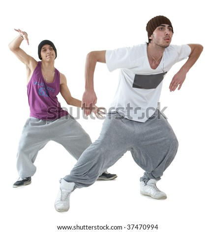 two young hip hop dancers posing isolated on white background