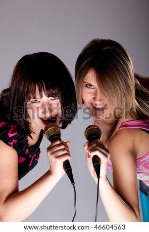 two young karaoke girls