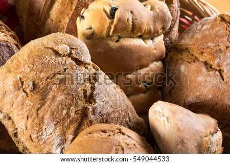 Types of loaves of bread and rolls