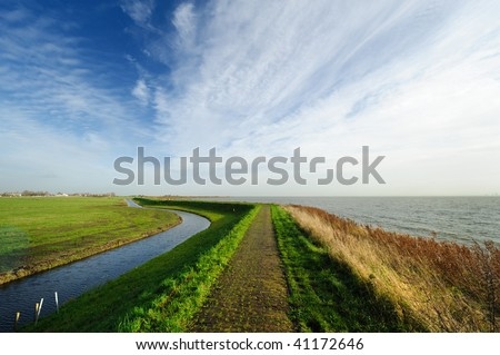 Typical country landscape in Marken The Netherlands (near Amsterdam)