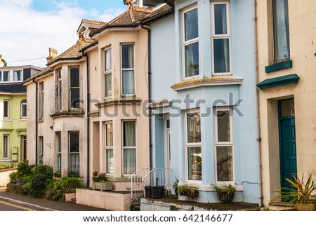 Typical English Architecture Residential Buildings In A Row Along The Street Seaside Town