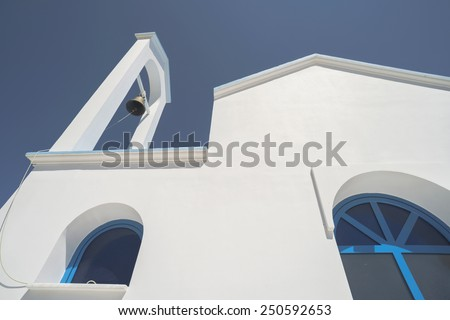 Typical white and blue Greek church. Greece