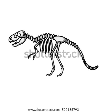 Tyrannosaurus rex icon in monochrome style isolated on white background. Museum symbol stock bitmap illustration.