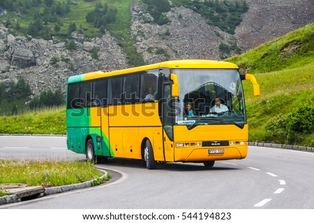 TYROL, AUSTRIA - JULY 29, 2014: Intercity coach MAN S2000 at the Grossglockner high mountain Alpine road.