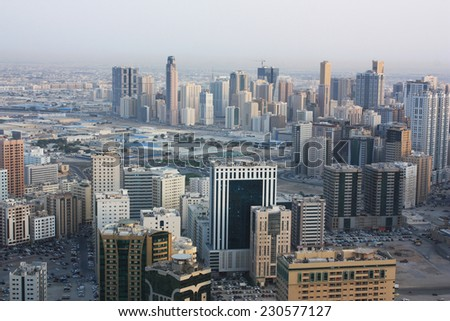 UAE, Arial view from skyscraper