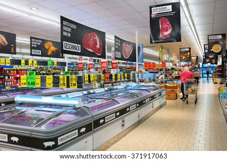 UELSEN, GERMANY - SEPTEMBER 23: Interior of a Lidl supermarket. Lidl is a German discount chain, 9800 stores, in 28 countries in Europe. Photo taken on September 23, 2015 in Uelsen, Germany
