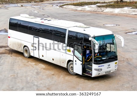 UFA, RUSSIA - APRIL 7, 2012: Intercity coach Higer KLQ6129Q in the bus station.