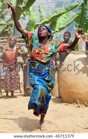 UGANDA - AUGUST 22: Pygmy Women of ethnic dancing, the Pygmies of Uganda live in villages practically held in Kabale district, August 22, 2010 in Kabale, Uganda