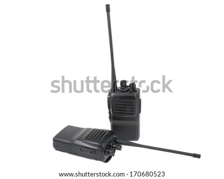 UHF handsets on white background