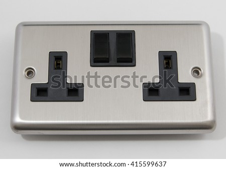 UK Chrome Mains Plug Socket