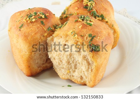 Ukrainian buns with garlic and parsley