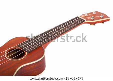 Ukulele player on a white background.