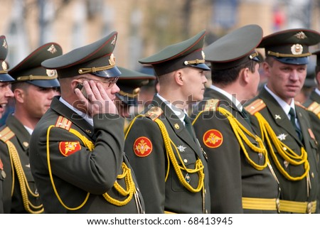 ULAN-UDE, RUSSIA - MAY 9: Russian officers wait for the parade on annual Victory Day, May, 9, 2009 in Ulan-Ude, Buryatia, Russia.