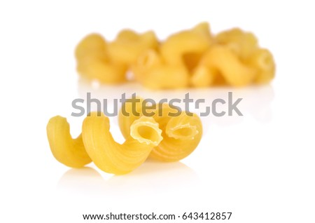 Uncooked Elbow Macaroni On White Background