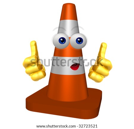 Under construction cone icon character illustration