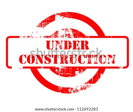 Under construction red stamp with copy space isolated on white background.