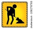Under Construction Road Sign With Worker Icon  Isolate on White Background - stock photo