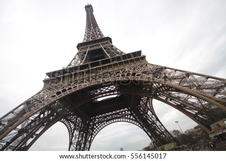 Under knee of The Eiffel tower in Paris, the most romatic symbol architecture in europe located in france