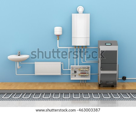 Underfloor Heating Systems In Home 3d Illustration