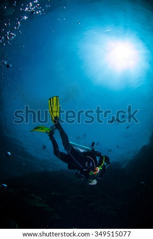 Underwater Blue Sea and scuba diver