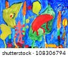 Underwater world in a multi-colored childrens drawings - stock photo