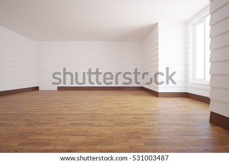 Unfurnished white room with wooden floor, door, window and daylight. 3D Rendering