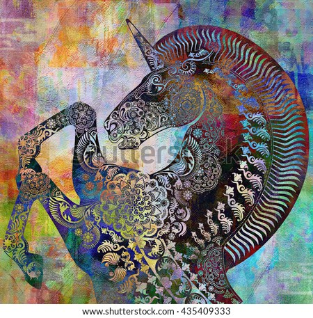 unicorn head on floral spotted relief background