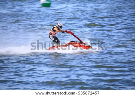 Unidentified jet ski racer at Jetski King's Cup World Cup Grand Prix at Jomtien Beach on Dec 2-4, 2016 in Pattaya City,Thailand.